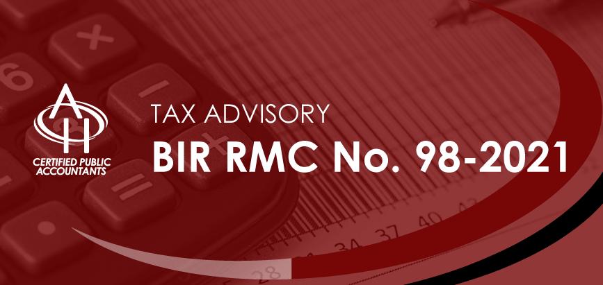BIR RMC No. 98-2021